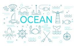 Ωκεάνιο έμβλημα θέματος με τα λεπτά εικονίδια γραμμών απεικόνιση αποθεμάτων