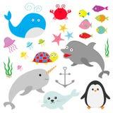 Ωκεάνιο ζωικό σύνολο πανίδας θάλασσας Ψάρια, φάλαινα, δελφίνι, χελώνα, αστέρι, καβούρι, μέδουσα, άγκυρα, φύκι, χαριτωμένος χαρακτ διανυσματική απεικόνιση
