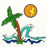 Ωκεάνιο κύμα φοινίκων και πορτοκαλής ήλιος ελεύθερη απεικόνιση δικαιώματος