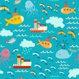 Ωκεάνιο στοιχείο, άνευ ραφής σχέδιο Στοκ Φωτογραφίες