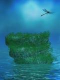 Ωκεάνιο υπόβαθρο με τους βράχους και τη λιβελλούλη Στοκ Φωτογραφία