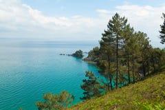 ωκεάνιο ύδωρ όψης ουρανού σύννεφων Υπόβαθρο φύσης με κανένα Morgat, χερσόνησος Crozon, Βρετάνη, Γαλλία Στοκ Φωτογραφία