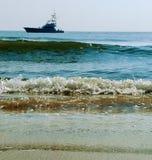 ωκεάνιο seascape Σεϋχέλλες praslin νησιών βαρκών στοκ φωτογραφία με δικαίωμα ελεύθερης χρήσης