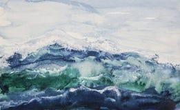 Ωκεάνιο watercolor κυμάτων στοκ φωτογραφία με δικαίωμα ελεύθερης χρήσης
