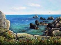 Ωκεανός και απότομοι βράχοι Στοκ εικόνα με δικαίωμα ελεύθερης χρήσης