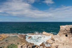 Ωκεανός και βράχοι των Μπαρμπάντος δίπλα στη ζωική σπηλιά λουλουδιών Καραϊβικό νησί θάλασσας Στοκ Φωτογραφίες