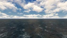 Ωκεανός και κύματα με τα σύννεφα απόθεμα βίντεο