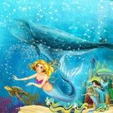 Ωκεανός κινούμενων σχεδίων και η γοργόνα στο υποβρύχιο βασίλειο που κολυμπά με τις φάλαινες διανυσματική απεικόνιση