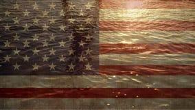 Ωκεανός με την αμερικανική σημαία απόθεμα βίντεο