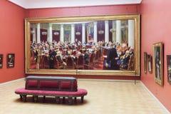 Δωμάτιο με την εικόνα Ilya Repin στο κρατικό ρωσικό μουσείο στο S Στοκ Εικόνες