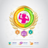 Ωμέγα χρυσά παιδιά λογότυπων έννοιας ασβεστίου και βιταμινών Στοκ Εικόνες