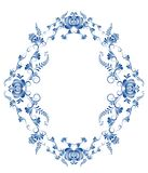 Ωοειδές πλαίσιο με τα floral στοιχεία Στοκ Φωτογραφία
