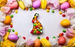 2 όλα τα αυγά Πάσχας έννοιας νεοσσών κάδων ανθίζουν τη χλόη χρωμάτισαν τις τοποθετημένες νεολαίες Τοπ όψη Στοκ Εικόνες
