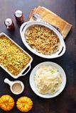 Όλα τα παραδοσιακά δευτερεύοντα πιάτα ημέρας των ευχαριστιών στοκ εικόνες