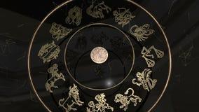 Όλα Zodiac τα σημάδια μέσα σε μια χρυσή ρόδα απόθεμα βίντεο