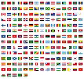 Όλες οι εθνικές σημαίες του κόσμου με τα ονόματα - υψηλά - ποιοτική διανυσματική σημαία που απομονώνεται στο άσπρο υπόβαθρο απεικόνιση αποθεμάτων