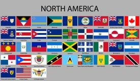 όλες οι σημαίες της Βόρειας Αμερικής διανυσματική απεικόνιση