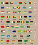 Όλες οι σημαίες της συλλογής χωρών της Αφρικής Στοκ Εικόνες