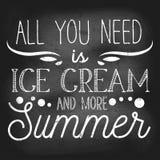 Όλη που χρειάζεστε είναι παγωτό και περισσότερη θερινή εμπνευσμένη αναδρομική κάρτα με το grunge και την επίδραση κιμωλίας Σχέδιο απεικόνιση αποθεμάτων