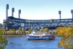 Όλος ο χάλυβας 3 βασίλισσα ποταμών riverboat στο πάρκο PNC, Πίτσμπουργκ στοκ εικόνα