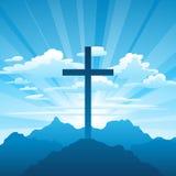 όλο το κλειστό Πάσχα επιμελείται eps8 τη δυνατότητα μερών απεικόνισης Ευχετήρια κάρτα με το σταυρό και τα σύννεφα διανυσματική απεικόνιση