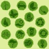 όλο το πράσινο grunge eco κουμπιών Στοκ Φωτογραφία