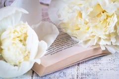 Όμορφα άσπρα peonies σε έναν άσπρο ξύλινο πίνακα στοκ φωτογραφία με δικαίωμα ελεύθερης χρήσης