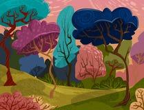 Όμορφα δέντρα στο μαγικό δασικό ζωηρόχρωμο θερινό τοπίο κινούμενων σχεδίων Στοκ Εικόνες