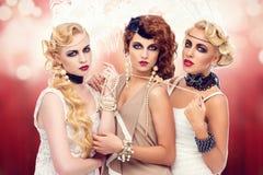 Όμορφα αναδρομικά κορίτσια ύφους Στοκ Εικόνες