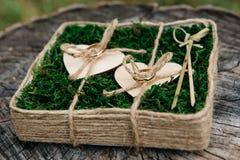 Όμορφα γαμήλια δαχτυλίδια στο ξύλινο υπόβαθρο, ένα κολόβωμα Στοκ εικόνα με δικαίωμα ελεύθερης χρήσης