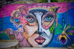 Όμορφα γκράφιτι σε Comuna 13, Medellin Στοκ Εικόνες