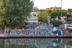 Όμορφα γκράφιτι τέχνης οδών στο λιμένα Rimini, Ιταλία Στοκ φωτογραφία με δικαίωμα ελεύθερης χρήσης