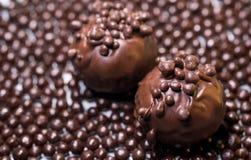 Όμορφα γλυκά σοκολάτας με το αερώδες ρύζι Στοκ εικόνα με δικαίωμα ελεύθερης χρήσης