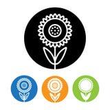 Όμορφα εικονίδιο και λογότυπο λουλουδιών ηλίανθων στο καθιερώνον τη μόδα γραμμικό ύφος Στοκ Εικόνες