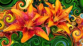 Όμορφα ζωηρόχρωμα πορτοκαλιά και κόκκινα άνθη διανυσματική απεικόνιση