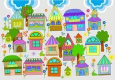όμορφα ζωηρόχρωμα σπίτια ανασκόπησης διανυσματική απεικόνιση