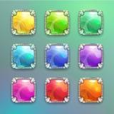 Όμορφα ζωηρόχρωμα τετραγωνικά κουμπιά κρυστάλλου κινούμενων σχεδίων καθορισμένα Στοκ Εικόνες