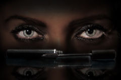 Μελάνι για τα eyelashes Στοκ Φωτογραφία
