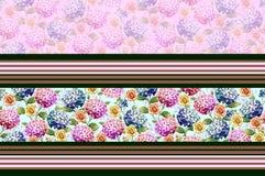 Όμορφα κλασσικά σύνορα λουλουδιών με το ρόδινο υπόβαθρο απεικόνιση αποθεμάτων