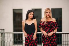 Όμορφα κορίτσια που θέτουν για το φωτογράφο Δύο αδελφές στο μαύρο και κόκκινο φόρεμα Χαμόγελο, ηλιόλουστη ημέρα, καλοκαίρι Στοκ φωτογραφία με δικαίωμα ελεύθερης χρήσης