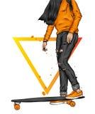 Όμορφα κορίτσια στις κορυφές και σορτς με skateboard Διανυσματική απεικόνιση για μια κάρτα ή μια αφίσα Φωτεινό, ζωηρόχρωμο σχέδιο στοκ φωτογραφία
