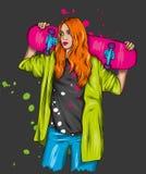 Όμορφα κορίτσια στις κορυφές και σορτς με skateboard Διανυσματική απεικόνιση για μια κάρτα ή μια αφίσα Φωτεινό, ζωηρόχρωμο σχέδιο στοκ εικόνες