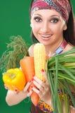όμορφα λαχανικά κοριτσιών Στοκ Εικόνες