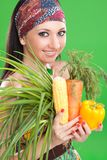 όμορφα λαχανικά κοριτσιών Στοκ εικόνα με δικαίωμα ελεύθερης χρήσης