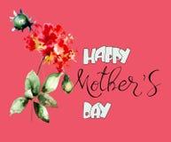 Όμορφα λουλούδια με την ευτυχή ημέρα μητέρων τίτλου διανυσματική απεικόνιση
