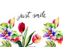 Όμορφα λουλούδια με το χαμόγελο τίτλου ακριβώς Στοκ φωτογραφία με δικαίωμα ελεύθερης χρήσης