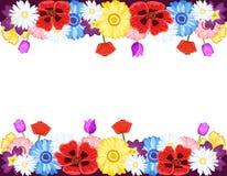 όμορφα λουλούδια συνόρω διανυσματική απεικόνιση
