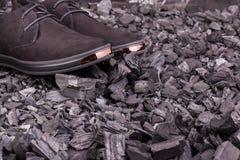 Όμορφα μαύρα παπούτσια σουέτ Στοκ Εικόνα