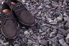 Όμορφα μαύρα παπούτσια σουέτ Στοκ φωτογραφία με δικαίωμα ελεύθερης χρήσης