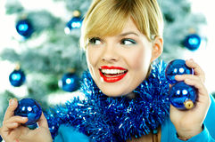 όμορφα μπλε Χριστούγεννα Στοκ Εικόνα